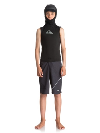 Quiksilver Boys Syncro+ Hooded Rash Vest - Black  - Click to view a larger image