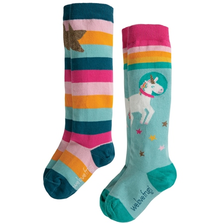 Frugi Hygge High 2 Pack Socks - Multi  - Click to view a larger image