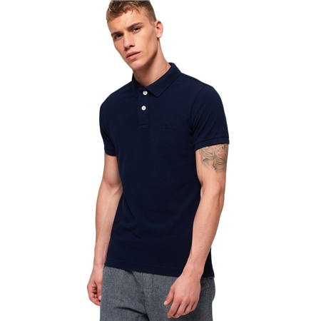 Superdry Vintage Destroyed Polo Shirt - Navy  - Click to view a larger image