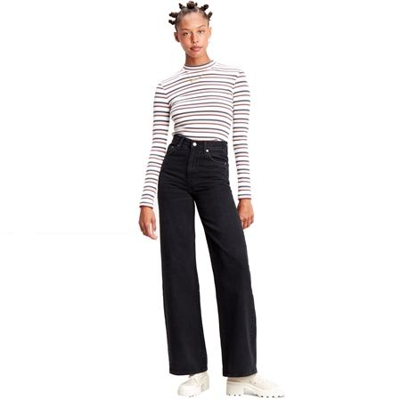 Levi's Ribcage Wide Leg Jeans - Black Book  - Click to view a larger image