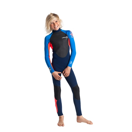 C-Skins Element 3/2mm Tiny Tots Flatlock Back Zip Wetsuit - Navy, Flo Red & Cyan (2020)  - Click to view a larger image
