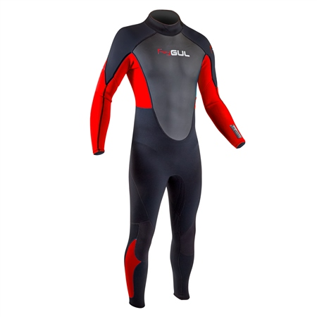 Gul Response Flatlock 3/2mm Back Zip Wetsuit - Black & Red (2020)  - Click to view a larger image