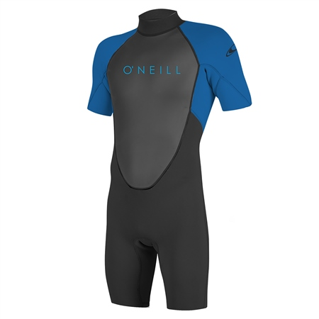 O'Neill Boys Reactor-2 Back Zip Shorty Wetsuit - Black & Ocean (2020)  - Click to view a larger image