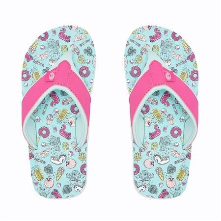 Raspberry Reef Kids Little Ahi Beach Flip Flops Size UK Baby 8//9