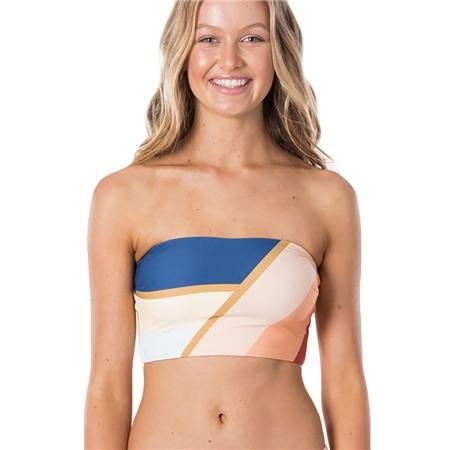 Rip Curl Sunsetters Block Bandeau Bikini Tops - Peach