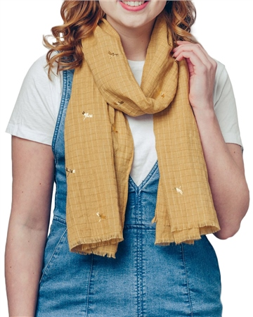 F & J Collection Foil Dragonfly Scarf - Gold