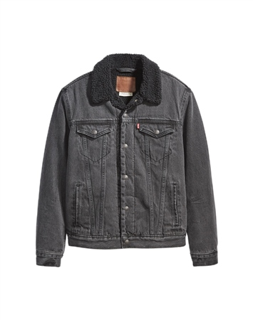 Levi's Sherpa Type 3 Jacket - Embossed Logo Black  - Click to view a larger image