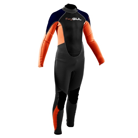 Gul Response 3/2mm Back Zip Wetsuit (2020) - Jet Grey & Orange  - Click to view a larger image