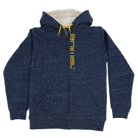 Animal Stanto Boys Fur Zipped Hoody - Poseidon Blue Navy Marl  - Click to view a larger image