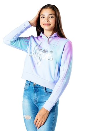 Hype Pastel Drips Crop Hoody - Blue & Pink  - Click to view a larger image