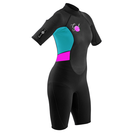 Gul Response Flatlock Shorty Wetsuit - Black & Cyan  - Click to view a larger image